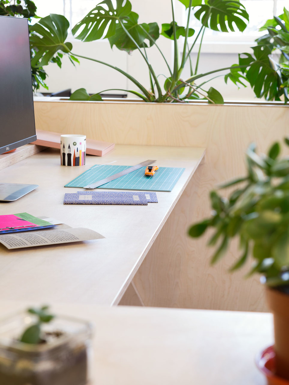 Sustainable wooden office furniture with plants